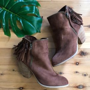 Women's Brown Suede Booties Size 9.5